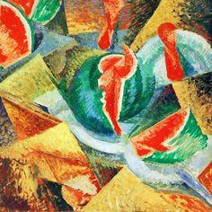 Nombre del autor: Umberto Boccioni Título de la obra: Natura morte, cocomero Año: 1913-1914 Técnica/material/soporte: Cubismo y De Stijl Dimensiones: 80 x 80,3 cm Ubicación actual de la obra: Niedersachsisches Landesmuseum, Hannover.