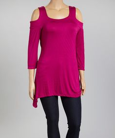 Another great find on #zulily! Berry Shoulder-Cutout Top - Plus #zulilyfinds