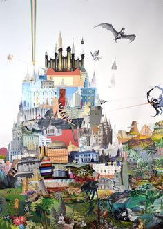 "Casey Jex Smith. Ramparts, 2012. Collage, pencil and color pencil on paper, 57 x 42"".      Via"