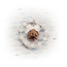 Vánoční ozdoba z korálků s šiškou - návod Brooch, Jewelry, Bijoux, Brooches, Jewlery, Jewels, Jewelery, Jewerly, Fine Jewelry