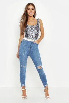 3b5c683508 Petite Mid Rise Distressed Hem Skinny Jean