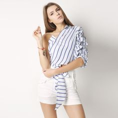 Striped #Blouse With One Shoulder