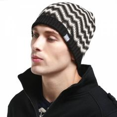 Wave geometric beanie hat for men warm winter knit hats Beanies, Beanie Hats, Mens Knit Beanie, Winter Knit Hats, Hat For Man, Wave Pattern, Casual Wear, Knitted Hats, Black And Grey