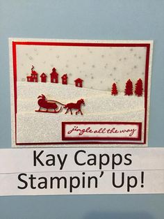 Jingle All the Way, Red Foil Paper, Winter Wonderland Vellum, Dazzling Diamonds Glimmer Paper, Sleigh Ride edgelits - all from Stampin' Up!