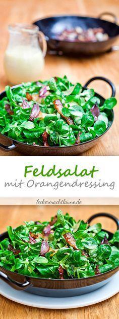 Feldsalat mit Speck und Orangendressing
