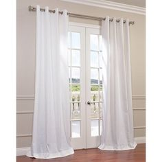 Half Price Drapes Solid Faux Linen Grommet Semi-Sheer Single Curtain Panel Size: W x L, Color: Cloud Drop Cloth Curtains, Lace Curtains, Grommet Curtains, White Curtains, Hanging Curtains, Linen Curtain, Curtain Panels, Ikea Curtains, Velvet Curtains