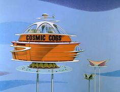 """Cogswell's Cosmic Cogs, introduced in the Jetsons episode """"The Flying Suit""""."""
