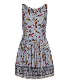 Blue Budgie Fit & Flare Dress #zulily #zulilyfinds