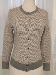 J.CREW Cardigan Gray Herringbone Sweater Small  fashion  clothing  shoes   accessories e0be8ed96