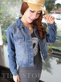 Buy 2014 New Korea Fashion Korea Women's Ladies casual Light Blue lovely jean denim jacket Coat at Wish - Shopping Made Fun Ladies Jackets, Jackets For Women, Korea Fashion, Jackets Online, Jacket Style, My Outfit, Cheap Jackets, Denim Jeans, Style Me
