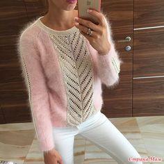 Всем добрый день!  Очень прошу совета и помощи. Хочу связать вот такой вот пуловер из мохера. Может кто-то уже вязал подобные вещи, сколько примерно пряжи нужно для такого изделия?