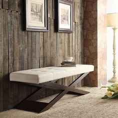 Have to have it. Homelegance X-Base Bench - Beige Linen - 48 in. - $289.99 @hayneedle