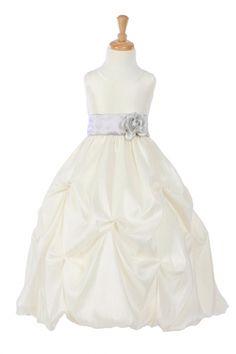Ivory/Silver+Taffeta+Pick+Up+Flower+Girl+Dress+with+Sash+GG-3284-ISV+on+www.GirlsDressLine.Com