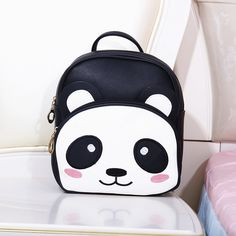 Leather Panda Bear In Love Blue Backpack Daypack Bag Women