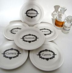 Name Your Poison Plates 6  black on white plates by AustinModern, $65.00    cool for halloween  plates