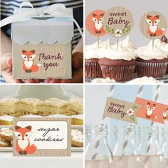 Baby Fox Theme Baby Shower Decorations. Woodland Theme Baby Shower Decorations…