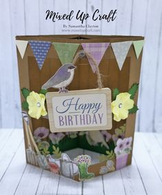 Hi everyone, today I'm sharing these fun Inner Pop-Up Cards using the Dovecraft Secret Garden collection & First Editon Chasing Rainbows papers. I made the card below during my Hobbybase … Fun Fold Cards, 3d Cards, Pop Up Cards, Folded Cards, Cool Cards, Birthday Card Design, Birthday Cards, Origami, Scrapbook Box