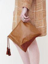 caramel leather; rust suede, inventive geometric design...great clutch
