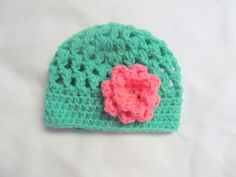 Crocheted Hat with Flower 03 month ready to ship by Lucary on Etsy, $12.00