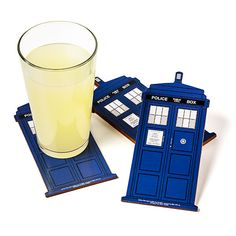 Doctor Who TARDIS Coasters - at this rate, my next apartment will be filled with NOTHING BUT COASTERS (I already had awesome Battlestar Galactica ones, Game of Thrones coasters and I still want Portal 2 coasters. I have a coaster problem...)