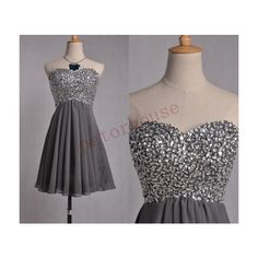 Dark Gray Beaded Prom Dresses Bridesmaid Dresses Fashion Party Dresses... (125 NZD) ❤ liked on Polyvore