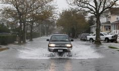 Flooding in Long Beach, New York state. Heavy rain was falling in advance of Hurricane Sandy.