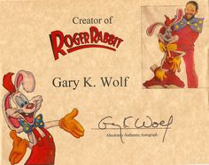 Roger Rabbit Creator Gary K. Wolf Autograph Hand Signed Who Framed Roger Rabbit Print. Comes with certificate of authenticity.
