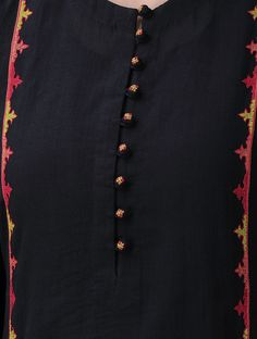 Black-Red Hand-Embroidered Cotton Mul Kurta with Slip (Set of Salwar Designs, Churidar Neck Designs, Kurta Neck Design, Kurta Designs Women, Kurti Designs Party Wear, Mehndi Designs, Neck Designs For Suits, Sleeves Designs For Dresses, Neckline Designs