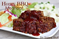 Honey BBQ Meatloaf- a delicious twist on an old favorite! SixSistersStuff.com #comfortfood #recipe