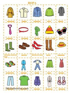 Hoja de trabajo para aprender/revisar léxico de ropa.Las tarjetas se pueden recortar y plastificar para hacer un juego de memory. - Trabajos ELE