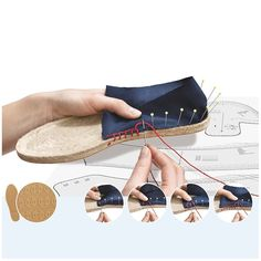 Fancy thread to espadrilles PRYM - blueof cotton and very resistant thread to help you to make lovely espadrilles. To find soles of espadrilles, it is this way: Espadrilles PRYM Crochet Shoes, Crochet Slippers, Espadrilles, Shoe Pattern, How To Make Shoes, Doll Shoes, Diy Clothes, Diy Fashion, Crocs