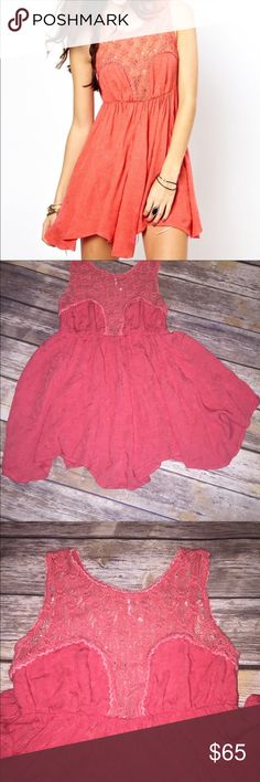 FREE PEOPLE coral crochet dress stunning!! Beautiful size XS crochet free people dress... color is coral so gorgeous! Flowing loose dress with a crochet top  Length to lowest point on bottom half of dress is aprox 26inch and armpit to armpit is aprox 15inch  Stretch elastic high waist Free People Dresses