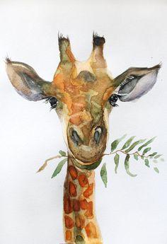 Original Watercolor Painting Giraffe art Giraffe by MaryArtStudio