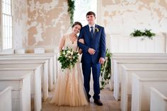 Just a sneak peek at our precious @tkr 's beautiful wedding last weekend!  There will be much more to show you but we just couldn't wait to share! The old church was a perfect back drop for all the fresh greenery and tara's gorgeous blush wedding dress! photograph by @lettersandlight  floral arrangements by @roxiecrainseale