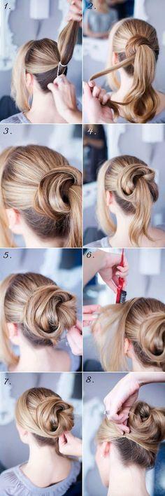 Tuto #coiffure pour réaliser un #chignon chic et original enroulé