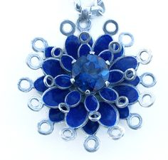 blue frilly lacy layered pendant blue passion topaz http://www.barbara-macleod.com