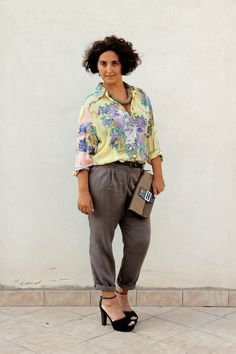 Want to try this curvy outfit with Michel Studio black fluid pant and loose colorful blouse.