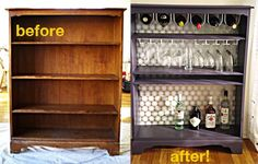 DIY:  Bookshelf turned mini bar holder!  Quick, easy, and inexpensive until I can get money for those crazy expensive fancy shmancy ones from Pottery Barn or Crate & Barrel.