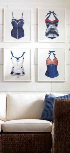 Inspired by retro bathing suits, our framed, jaunty work of art-Blue Dots Vintage Bathing Suit-will stop visitors with a smile.