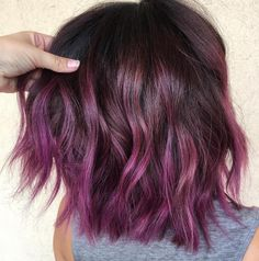 Choppy Brown Bob with Purple Ombre Short Burgundy Hair, Burgundy Hair With Highlights, Purple Brown Hair, Burgundy Hair Dye, Black Hair Ombre, Maroon Hair, Magenta Hair, Light Brown Hair, Brown Hair Colors
