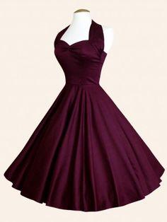 194614f49f4 1950s Halterneck Plum Sateen Dress from Vivien of Holloway Plum Prom Dresses