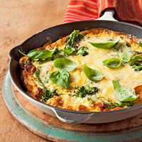 Broccoli, 2/3 c. Shallots cook in pan 8 eggs beaten cheese, sprinkle over top 8 basil leaves.
