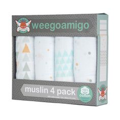 A premium quality, generously-sized baby muslin is a must have for all babies. Designed in Australia, these four Weegoamigo soft-to-touch 100% natural cotton muslins are perfect for swaddling. They have an open weave for great breathability and textual gripability, as well as diagonal stretch.  Each of these versatile muslins can also be used a play rug, a stroller cover, a nursing shield, a lightweight blanket, change cloth and so much more.