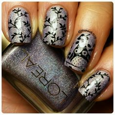 Masked Affair and stamped with Yoga Pants @dripdropnailpaint @pueencosmetics plate 40 @uberchicbeauty 1-02 @glistenandglow1 HKgirl topcoat and cleaned up with my @cosette.nail.shop brush and used my Petite stamper.