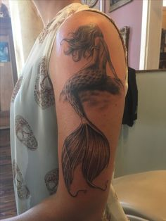 """My mermaid"" tattoo by Travis #blackandgreytattoo #mermaid #louisvilleartist #tattooshopsinlouisville #prophecyink #louisvillelove #baxteravenue #fantasy"