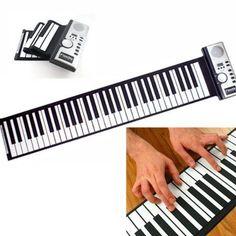 US Portable Flexible Electronic MIDI Roll-Up 61 Soft Keys Folding Piano Keyboard