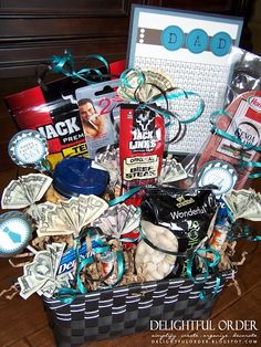 Fathers day gifts! We did something similar, we put beef jerky, protein bars, some of this favorite food, a Bomgaars gift card, and I made some money origami for the basket as well!