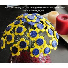 : wedding blue bouqet bridesmaids cap diy flip off flowers green medical orange pink purple red white yellow Yellow Bouquet In Vase Diy Plastic Bottle, Bottle Cap Crafts, Diy Bottle, Diy Craft Projects, Fun Crafts, Diy And Crafts, Button Art, Button Crafts, Nurse Crafts