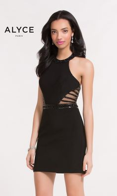 Short sleeveless bodycon dress with a thin belt at the waist illusion side cut outs, halter neckline, and open racerback.