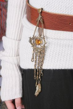 Antique Brass Chatelaine - ( this look can also be copied by slipping a large thick necklace through your belt !  cool )